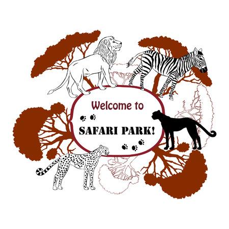 savanna: Background with savanna animals. Vector Illustration