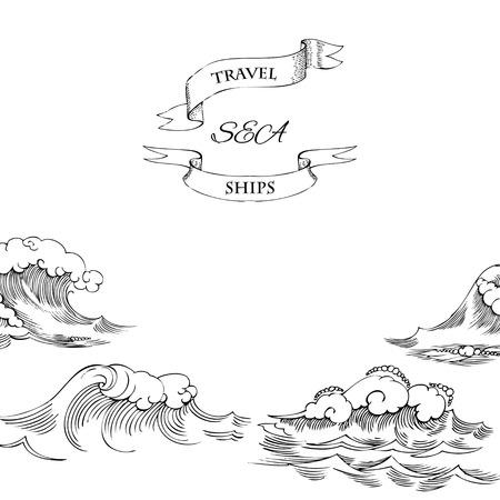 olas de mar: Fondo con las ondas. Ilustración vectorial