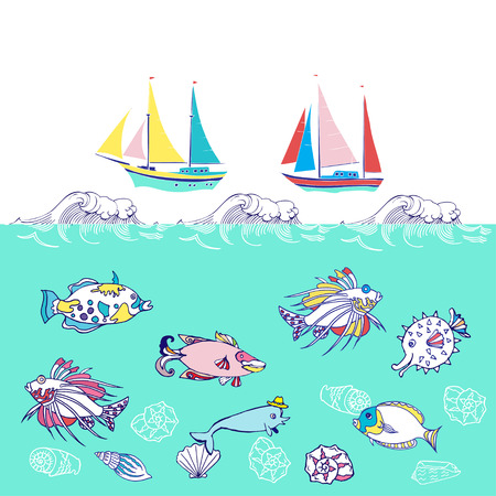 cockleshell: Background with fishes and ships.Hand drawn sea, waves and yachts. Vector  Illustration