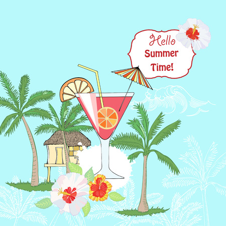layout strawberry: Summer background with cocktail glass, fruit and hibiscus. Hand drawn vector illustration