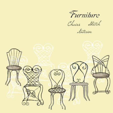 drawn metal: Background with chairs. Hand drawn Furniture for interior.Vector  Illustration Illustration