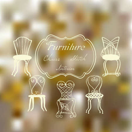 interior decoration: Background with chairs. Hand drawn furniture for  interior decoration. Vector  Illustration
