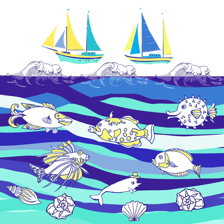 yachts: Background with fishes and ships.Hand drawn sea, waves and yachts. Vector  Illustration