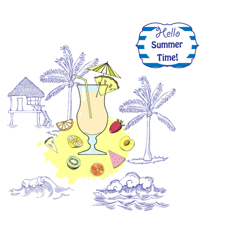 layout strawberry: Summer background with cocktail glass, fruit and ships. Hand drawn vector illustration
