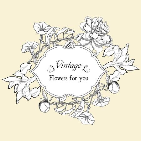 bindweed: Vintage card with bindweed and flowers.Hand drawn flowers of bindweed, peonies and irises. Vector illustration