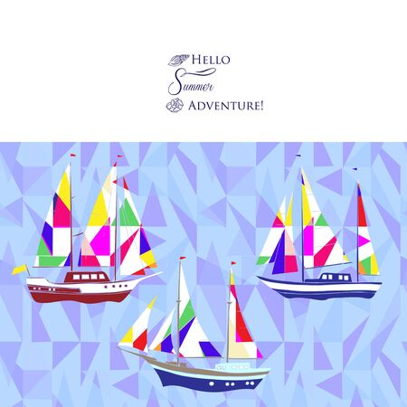 yachts: Sea background with ships.Hand drawn elements for summer holidays. Travel, marin, yachts, ocean. Vector Illustration