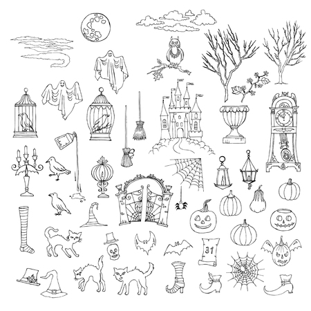 Halloween. Set of  hand drawn elements. Can be used for backgrounds and cards of Halloween decorations. Pumpkin, cat, ghost, hours, castle, moon, autumn. Vector Illustration Vectores