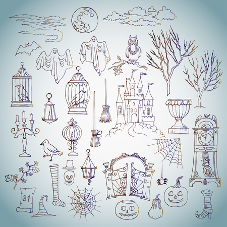 black magic: Halloween. Set of  hand drawn elements. Can be used for backgrounds and cards of Halloween decorations. Pumpkin, cat, ghost, hours, castle, moon, autumn. Vector Illustration Illustration