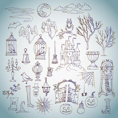 silueta de gato negro: Víspera de Todos los Santos. Conjunto de elementos dibujados a mano. Puede ser utilizado para los fondos y las tarjetas de las decoraciones de Halloween. Calabaza, gato, fantasma, hora, castillo, luna, otoño. Ilustración vectorial