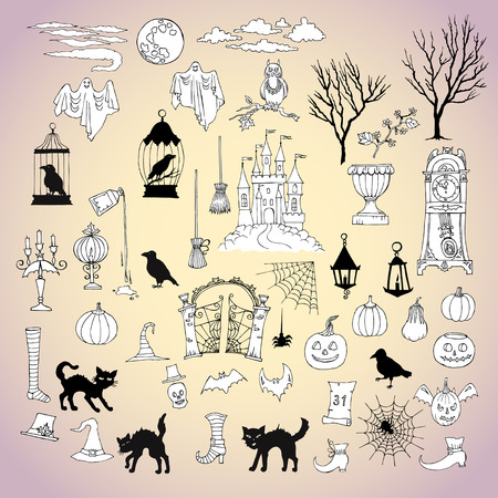 moon gate: Halloween. Set of  hand drawn elements. Can be used for backgrounds and cards of Halloween decorations. Pumpkin, cat, ghost, hours, castle, moon, autumn. Vector Illustration Illustration