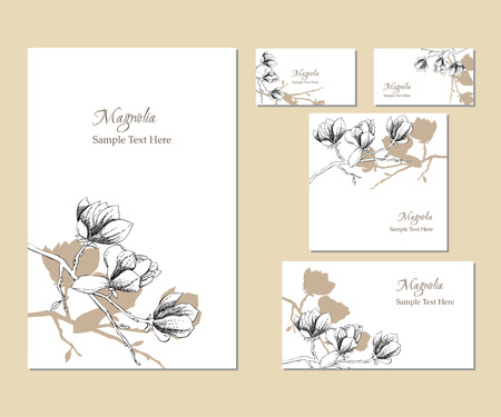 postcard background: Set of vector template corporate identity with magnolia. Background for printed media design. Business card, invitation, greeting card, postcard. Vector Illustration