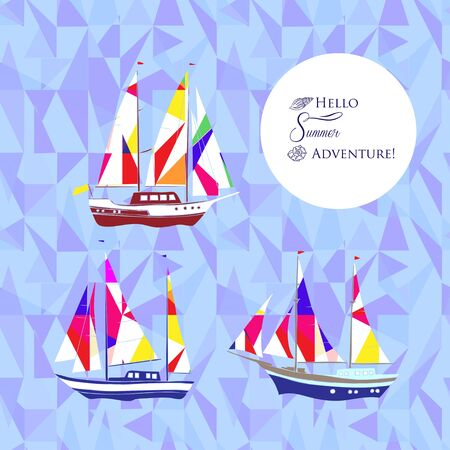 yachts: Sea background with ships.Hand drawn elements for summer holidays. Travel, Marin, yachts, ocean.