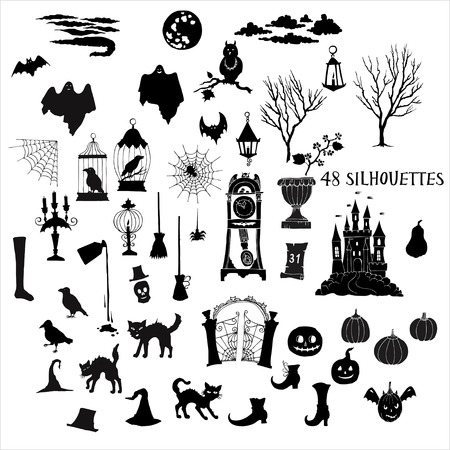 Halloween silhouettes. Set of  hand drawn elements. Can be used for backgrounds and cards of Halloween decorations. Pumpkin, cat, ghost, hours, castle, moon, autumn.