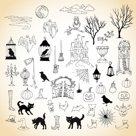 moon gate: Halloween. Set of  hand drawn elements. Can be used for backgrounds and cards of Halloween decorations. Pumpkin, cat, ghost, hours, castle, moon, autumn.