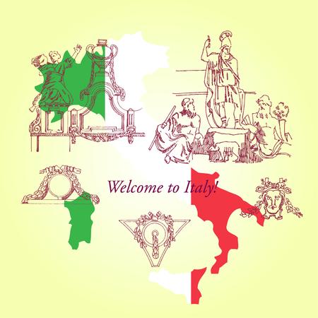architectural elements: Dibujado a mano dibujos de elementos arquitect�nicos y esculturas en un estilo cl�sico. Roma, Italia, el turismo. Vectores
