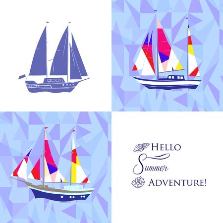 marin: Sea background with ships.Hand drawn elements for summer holidays. Travel, marin, yachts, ocean.