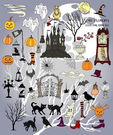 moon gate: Halloween.Halloween is the colorful holiday. Hand drawn elements.Halloween decorations with  pumpkin, cat, ghost, hours, castle, moon and trees.