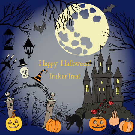 moon gate: Halloween. Background with  hand drawn elements.Halloween decorations with  pumpkin, cat, ghost, hours, castle, moon and trees. Vector Illustration