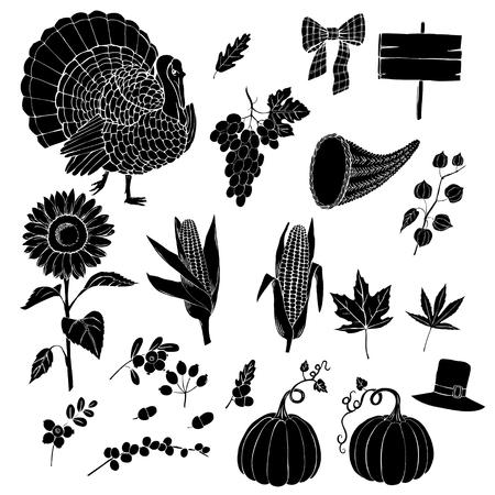 cuerno de la abundancia: Día de Acción de Gracias. Conjunto de siluetas dibujadas a mano. Puede ser utilizado para los fondos y las tarjetas para las decoraciones de Acción de Gracias. Calabaza, pavo, cosecha, otoño. Ilustración vectorial Vectores