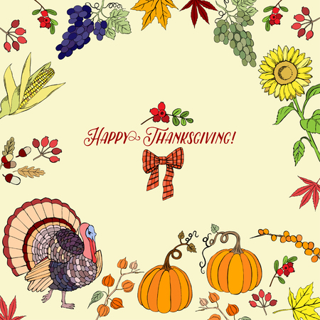 fall harvest: Thanksgiving day. Background with hand drawn elements. Vector Illustration