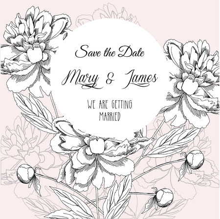 peony black: Wedding background with black and white peony. Vector illustration Illustration