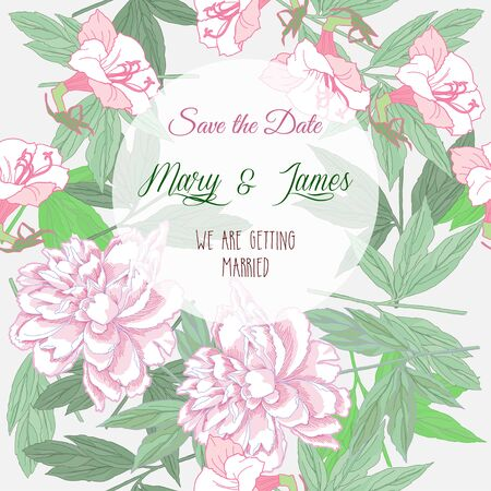 Wedding background  with pink peonies and flowers. Vector Illustration Illustration