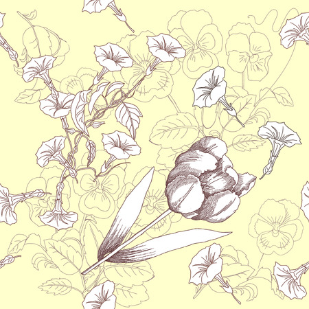 beautiful garden: Seamless pattern with  black and white flowers. Vector floral illustration Illustration