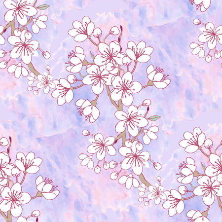 Seamless pattern with sakura. Hand drawn spring blossom trees. Vector illustration with cherry blossoms.