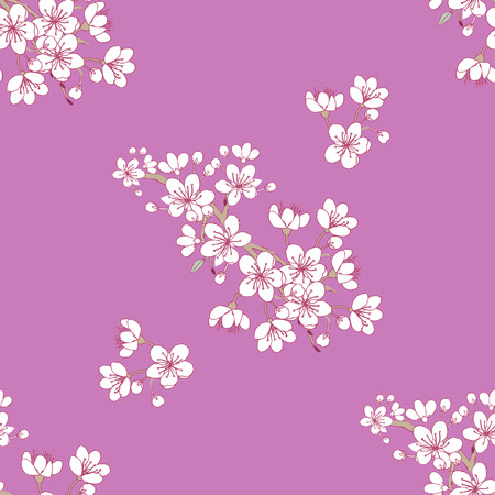Seamless pattern with sakura. Hand drawn spring blossom trees. Vector illustration with cherry blossoms. Ilustracje wektorowe