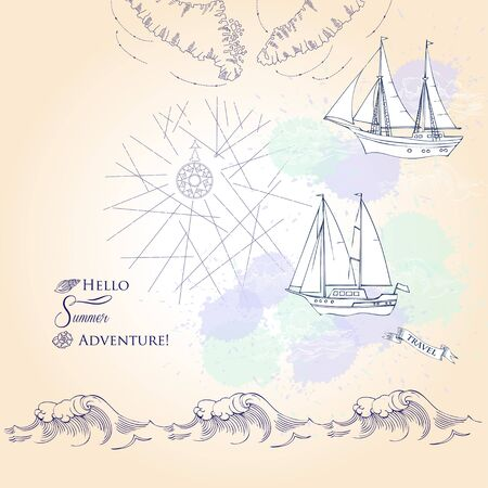 yachts: Background with ships and waves.Hand drawn sea, waves and yachts. Vector  Illustration