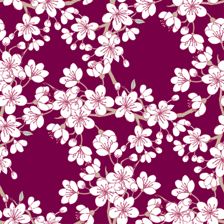 Seamless pattern  with sakura. Hand drawn spring blossom trees. Vector illustration with cherry blossoms. Ilustração
