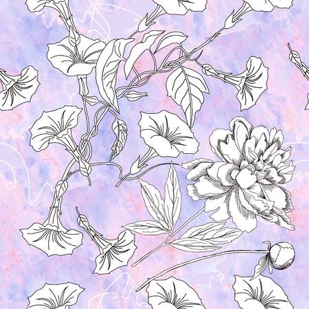 patrones de flores: Patr�n sin fisuras con flores blancas y negras. Ilustraci�n floral del vector