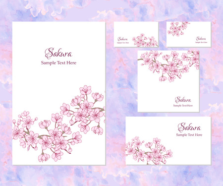 Set of template corporate identity with sakura. Background for printed media design. Banner, business card, invitation, greeting card, postcard. Vector Illustration Stock Illustratie