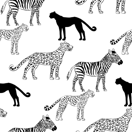 trees silhouette: Seamless pattern with savanna animals. Hand drawn vector cheetah, leopard and zebra  in safari park. Vector Illustration