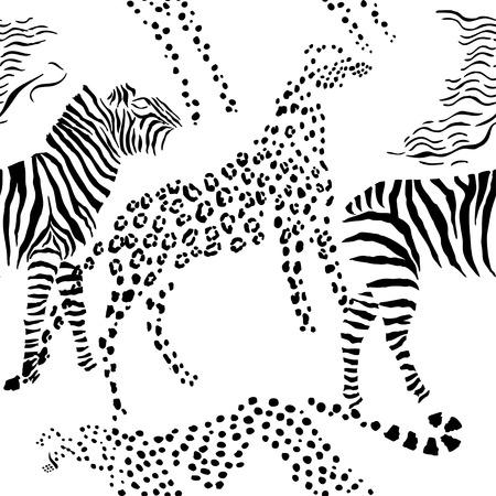 Patrón sin fisuras con los animales de la sabana. Ilustración de vector