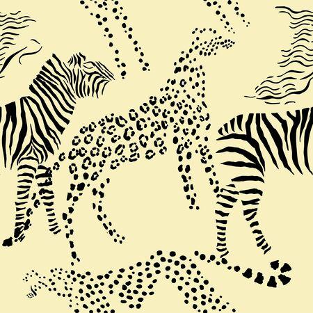 fur trees: Seamless pattern with savanna animals.