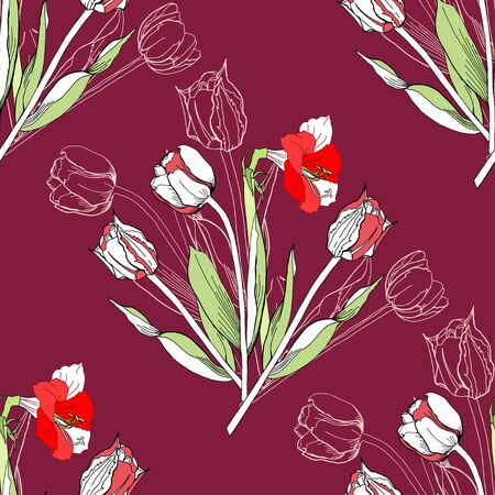 flower red: Seamless pattern with amaryllis and tulip.