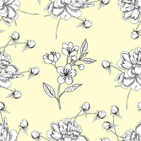 patrones de flores: Patrón sin fisuras con peonía y manzano. Mano Patten dibujado con las flores del jardín de la primavera. Ilustración vectorial Vectores