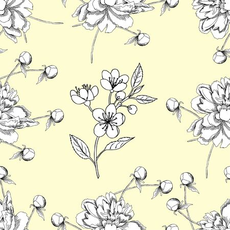 Seamless pattern with peony and apple tree. Hand drawn patten with spring garden flowers. Vector Illustration