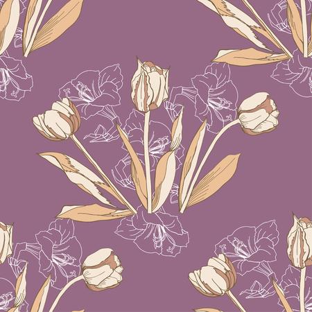 patrones de flores: Patr�n sin fisuras con la ilustraci�n de tulipanes flowers.Vector Vectores