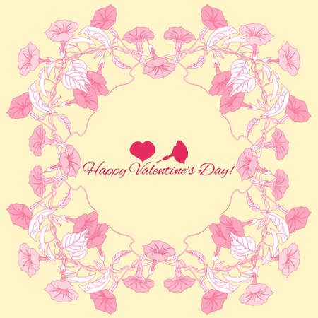 bindweed: Background with pink bindweed  flowers. Vector illustration Illustration