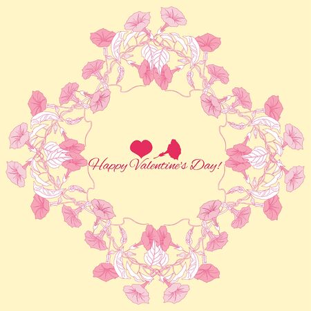 flower card: Background with pink bindweed  flowers. Vector illustration Illustration