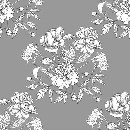 patrones de flores: Patr�n sin fisuras con el ramo de flowers.Vector Ilustraci�n Vectores