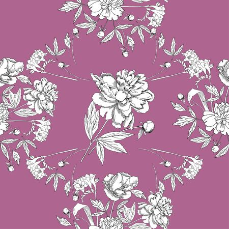 flower illustration: Seamless pattern with bouquet of flowers. Vector Illustration
