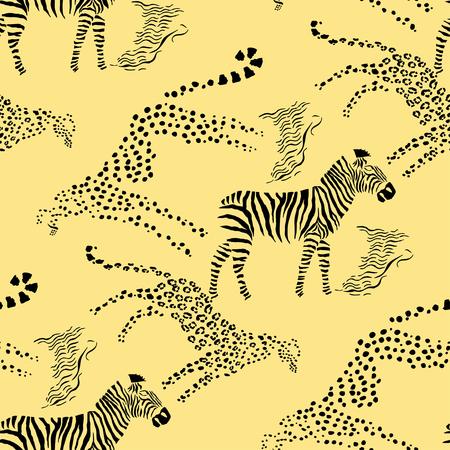head to head: Seamless pattern with savanna animals. Hand drawn vector cheetah, leopard and zebra  in safari park. Vector Illustration