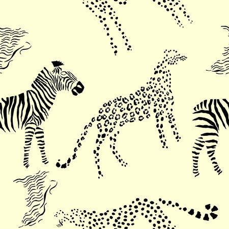fur trees: Seamless pattern with savanna animals. Hand drawn vector cheetah, leopard and zebra  in safari park. Vector Illustration