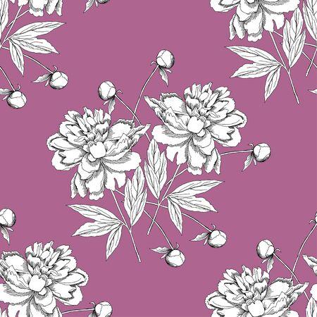 red flower: Seamless pattern with peony.Vector Illustration
