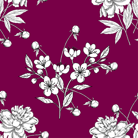 patten: Seamless pattern with peony and apple tree. Hand drawn patten with spring garden flowers. Vector Illustration