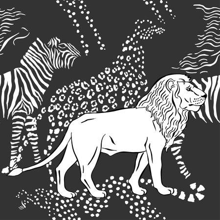 savanna: Seamless pattern with savanna animals.