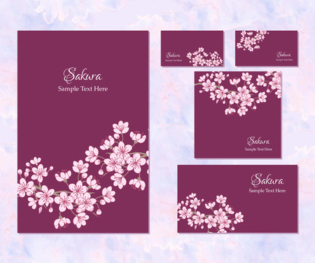 Set of template corporate identity with sakura.